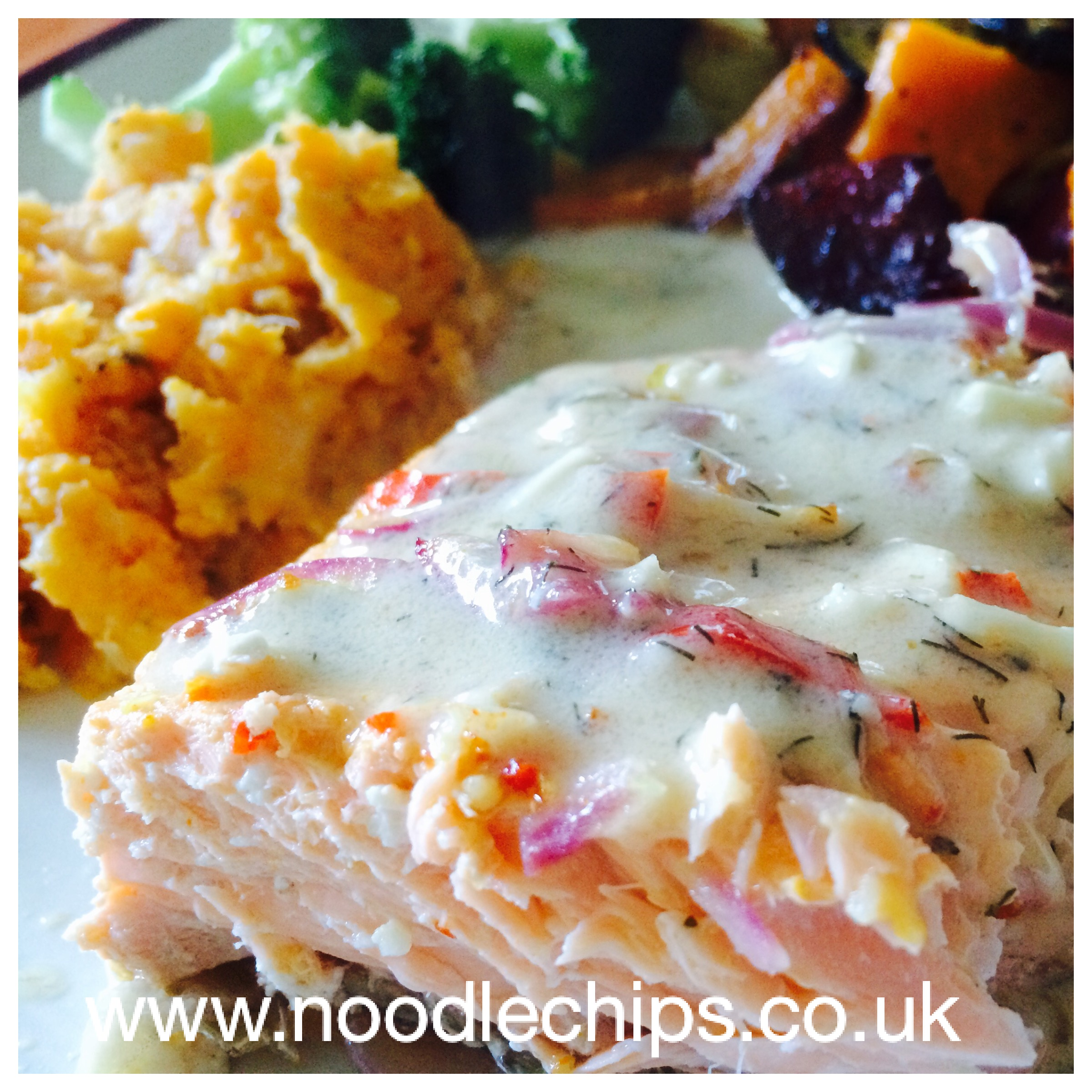 Salmon in a Creamy Dairy Free Sauce, perfect served with Sweet Potato Mash and Roasted Veg